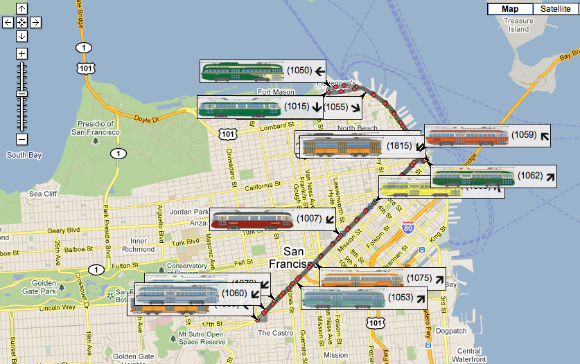 Trams San Francisco Map.Ridiculously Cool New Map Shows Live Location Of San Francisco S